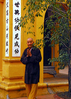 Worshipper at a temple in Hanoi