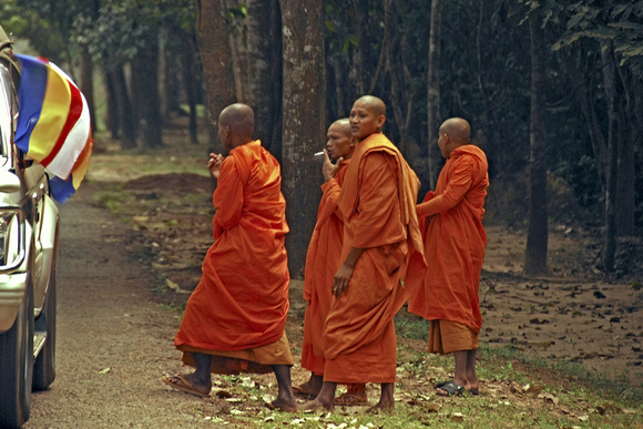 Monks on the road outside Angkor Wat