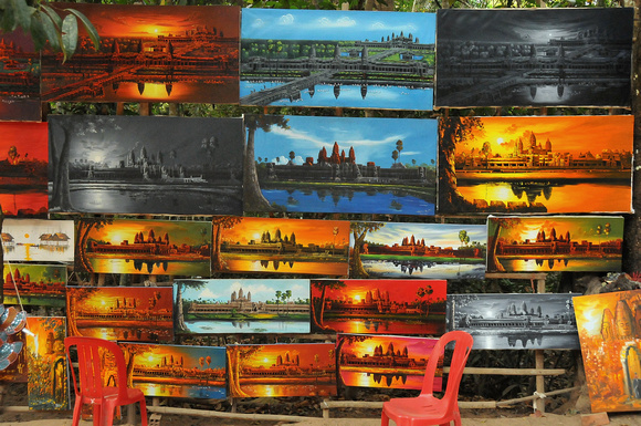 Paintings for sale, Angkor Wat, Cambodia