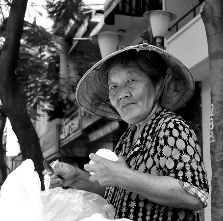 Grapefruit seller, Saigon, Vietnam